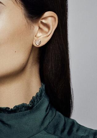 Pandora Signature Heart Stud Earrings Rose