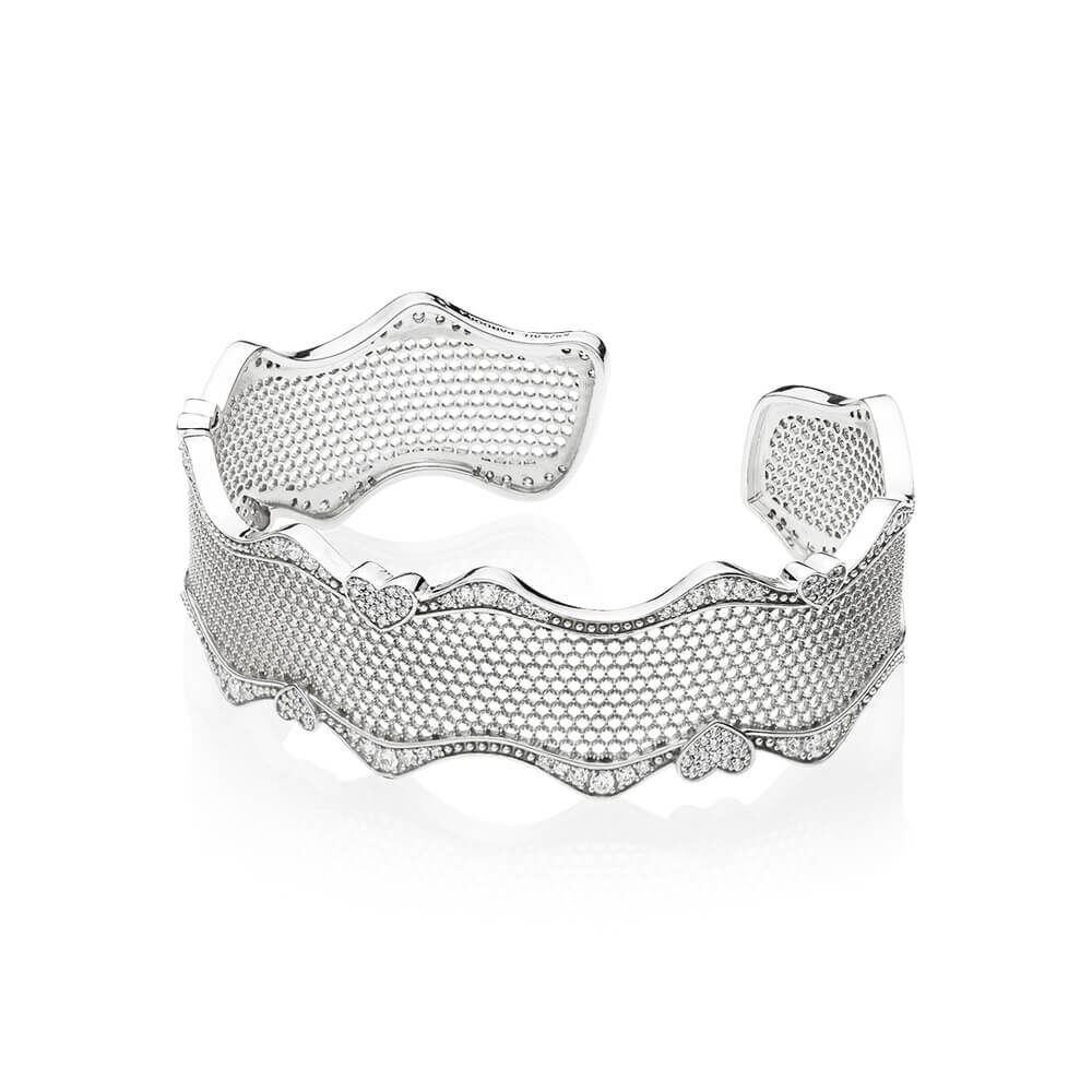 Lace Of Love Bracelet Cuff Clear Cz Pandora Jewelry Us