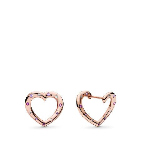 8535e4c4fc50ac Bright Hearts Hoop Earrings, PANDORA Rose™, Royal Purple & Lilac Crystals &  Clear