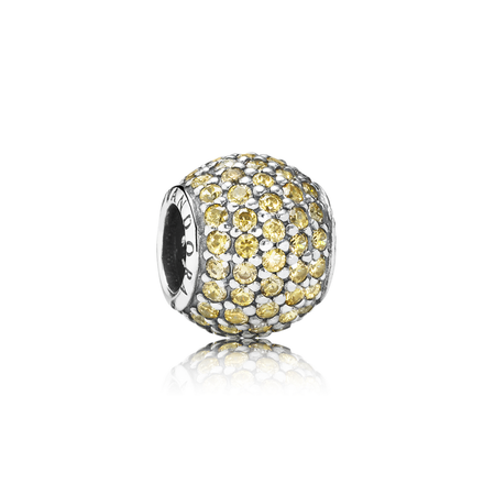 Pavé Lights Charm, Fancy Golden-Colored CZ