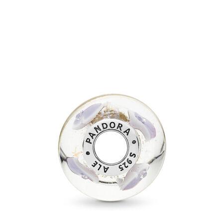 Plentiful Hearts Murano Glass Charm, Sterling silver, Glass, Pink, Cubic Zirconia - PANDORA - #796599CZ