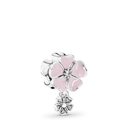 Poetic Blooms, Soft Pink Enamel & Clear CZ, Sterling silver, Enamel, Pink, Cubic Zirconia - PANDORA - #791827EN40