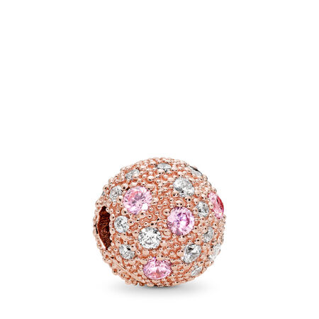 Cosmic Stars Clip, PANDORA Rose™, Pink & Clear CZ