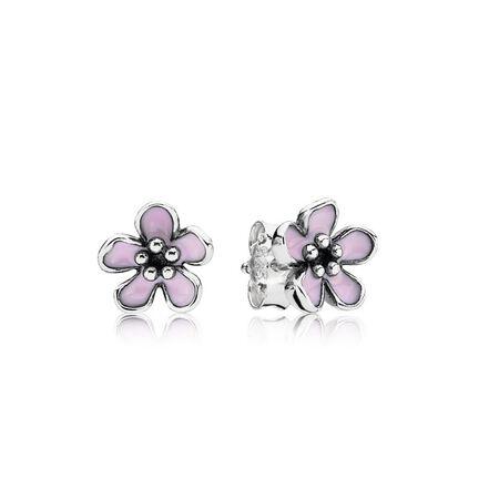 Cherry Blossom Stud Earrings, Pink Enamel