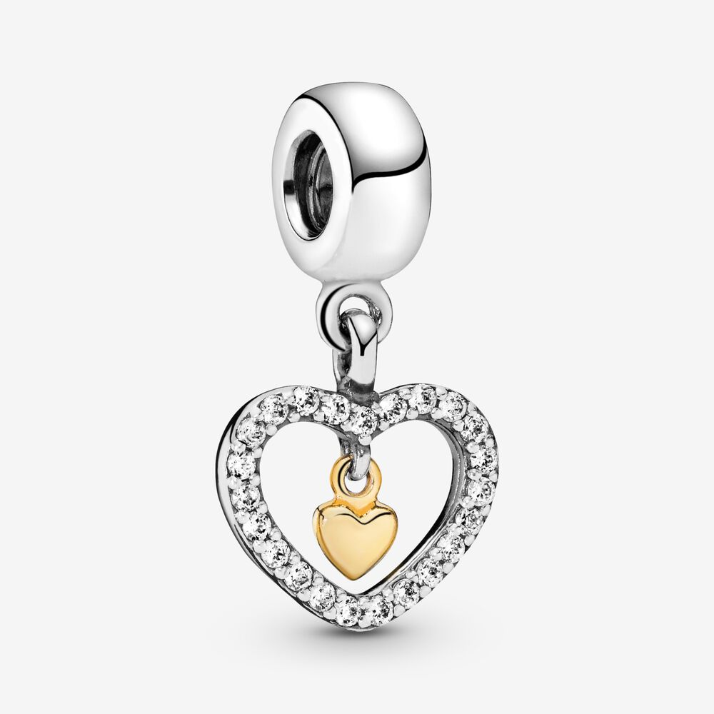 Sparkling Double Heart Dangle Charm