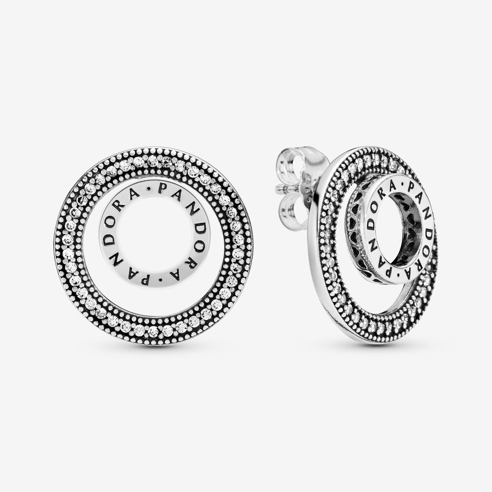 Pandora Logo Circle Stud Earrings
