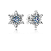 Crystalized Snowflake Stud Earrings, Blue Crystals & Clear CZ