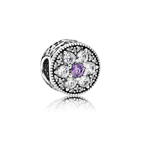 Forget Me Not Charm, Purple & Clear CZ
