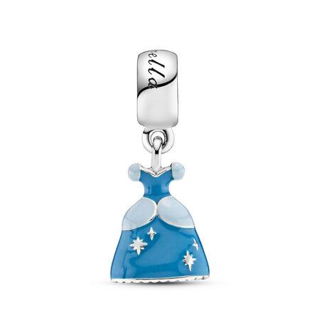 Disney, Cinderella's Dress Dangle Charm, Mixed Enamel, Sterling silver, Enamel, Blue - PANDORA - #791578ENMX