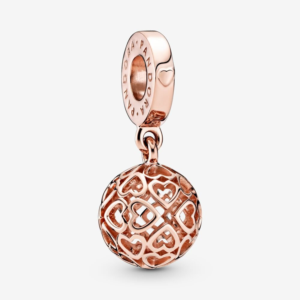 Openwork Heart Ball Dangle Charm