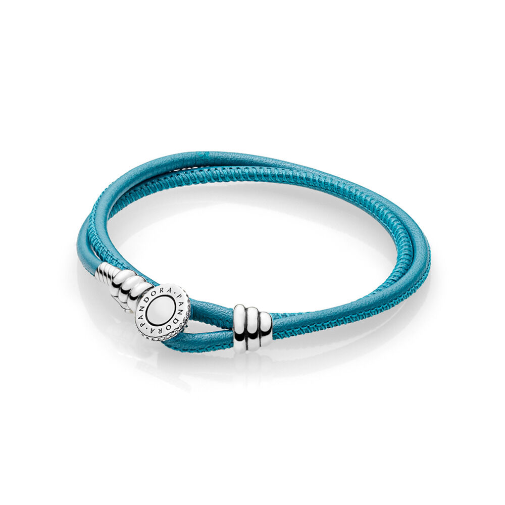 a1da6a159 Turquoise Double Leather Bracelet, Clear CZ, Sterling silver, Leather,  Turquoise, Cubic