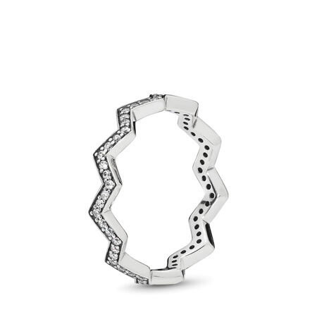 Shimmering Zigzag Ring, Clear CZ, Sterling silver, Cubic Zirconia - PANDORA - #197751CZ