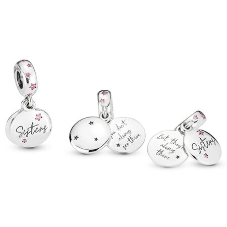 Forever Sisters Dangle Charm, Sterling silver, Pink, Cubic Zirconia - PANDORA - #798012FPC
