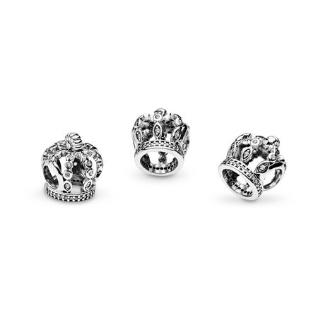 Fairytale Crown Charm, Clear CZ, Sterling silver, Cubic Zirconia - PANDORA - #792058CZ