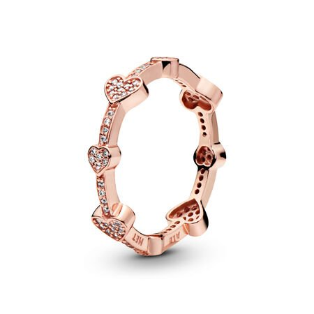 Alluring Hearts Ring, PANDORA Rose™ & Clear CZ, PANDORA Rose, Cubic Zirconia - PANDORA - #187729CZ
