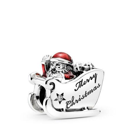 Sleighing Santa, Translucent Red Enamel, Sterling silver, Enamel, Red, Cubic Zirconia - PANDORA - #792004CZ