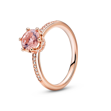 Pink Sparkling Crown Solitaire Ring