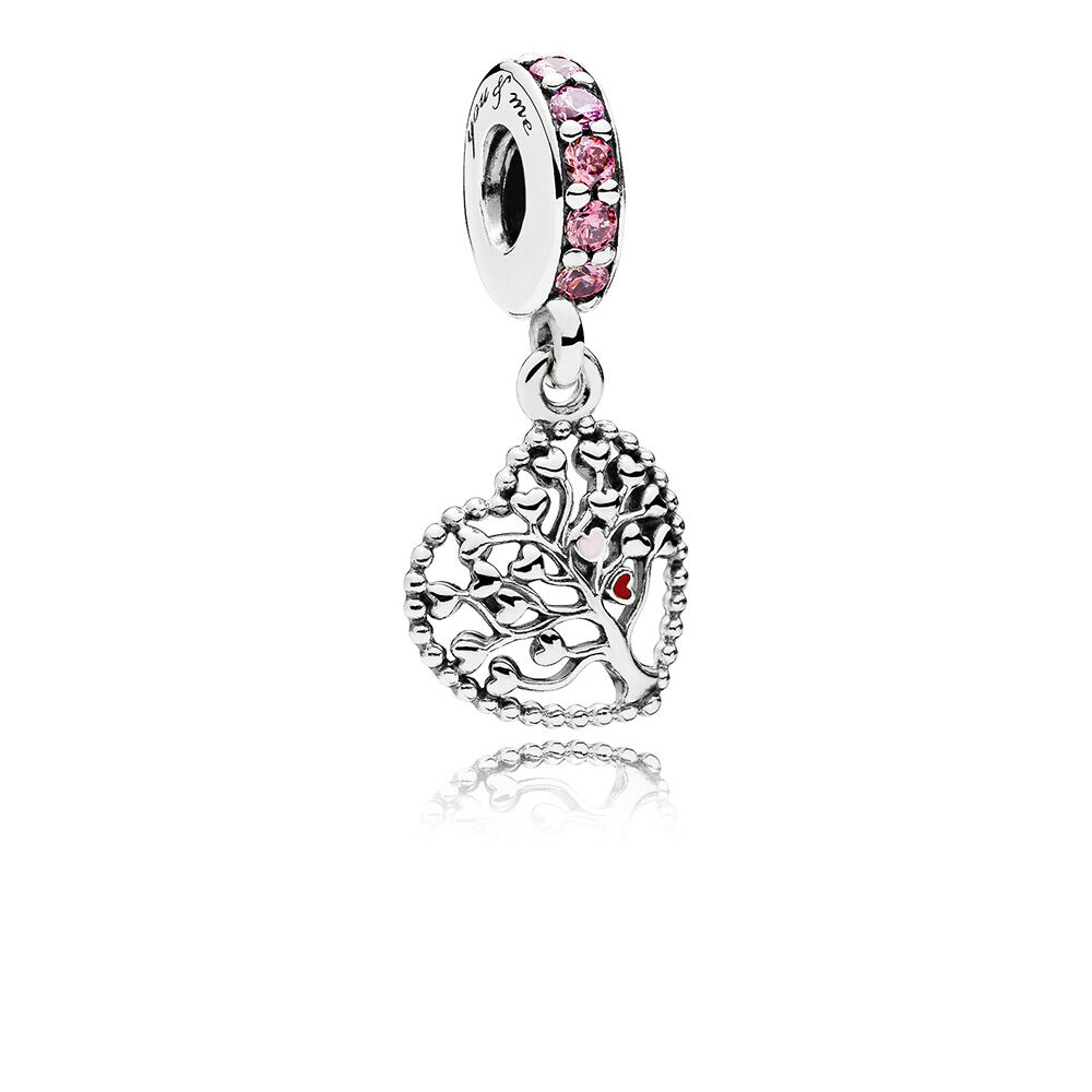 Tree Of Love Dangle Charm, Mixed Enamel U0026 Multi Colored CZ