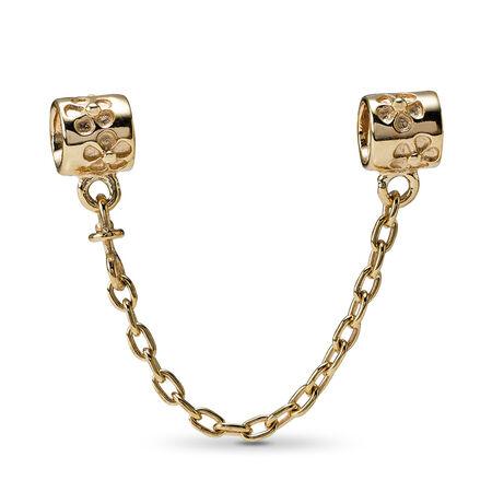Flower Charm Safety Chain, 14K Gold, Yellow Gold 14 k - PANDORA - #750312