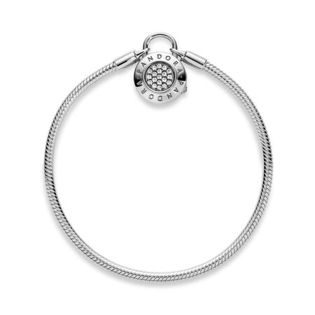 Sterling Silver Smooth Bracelet with PANDORA Signature Padlock Clasp, Clear CZ