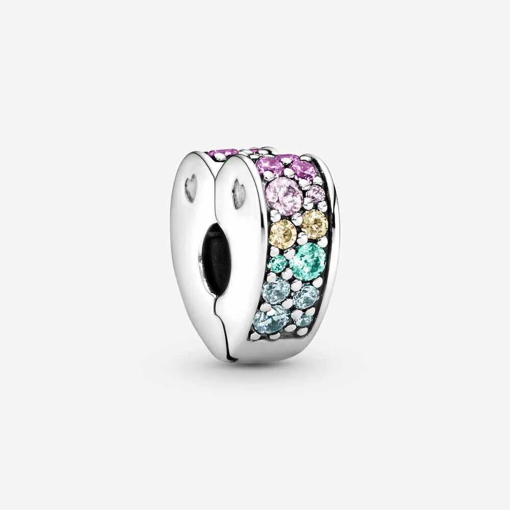 Rainbow Pavé Heart Clip Charm