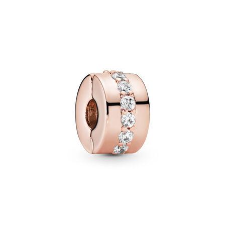 Shining Path Clip, PANDORA Rose™ & Clear CZ, PANDORA Rose, Cubic Zirconia - PANDORA - #781972CZ