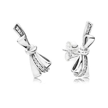 Brilliant Bows Stud Earrings, Clear CZ