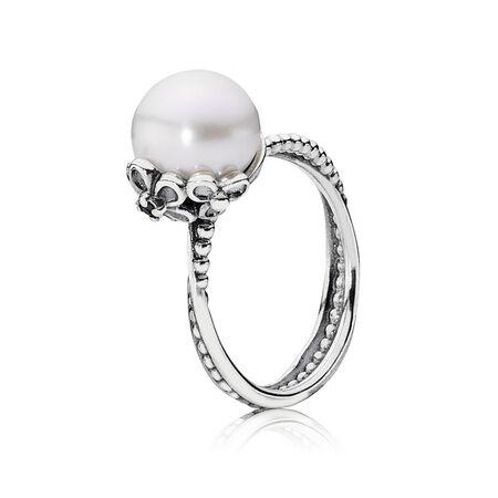 Garden Odyssey Ring, Pearl & Black CZ