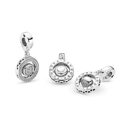 Spinning PANDORA Signature Dangle Charm, Clear CZ, Sterling silver, Cubic Zirconia - PANDORA - #797430CZ