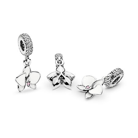Orchid Dangle Charm, White Enamel, Clear & Orchid CZ