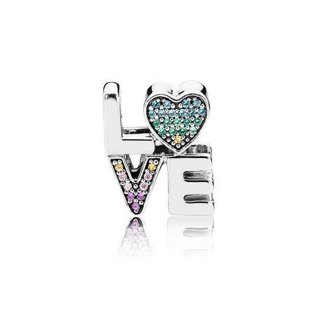 Multi-Color Love Charm, Multi-Colored CZ