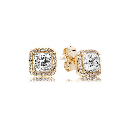 Timeless Elegance Stud Earrings, 14K Gold & Clear CZ