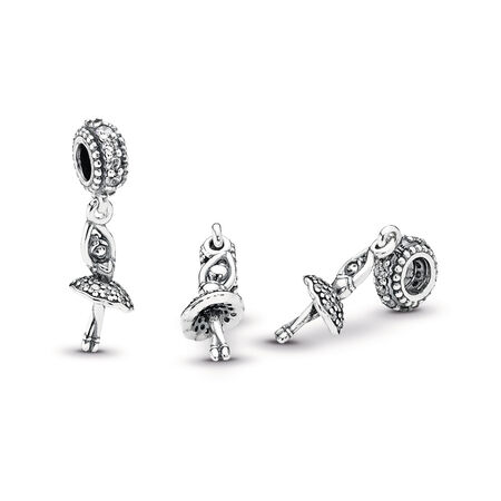 85bf52736 Ballerina Dangle Charm, Clear CZ, Sterling silver, Cubic Zirconia - PANDORA  - #
