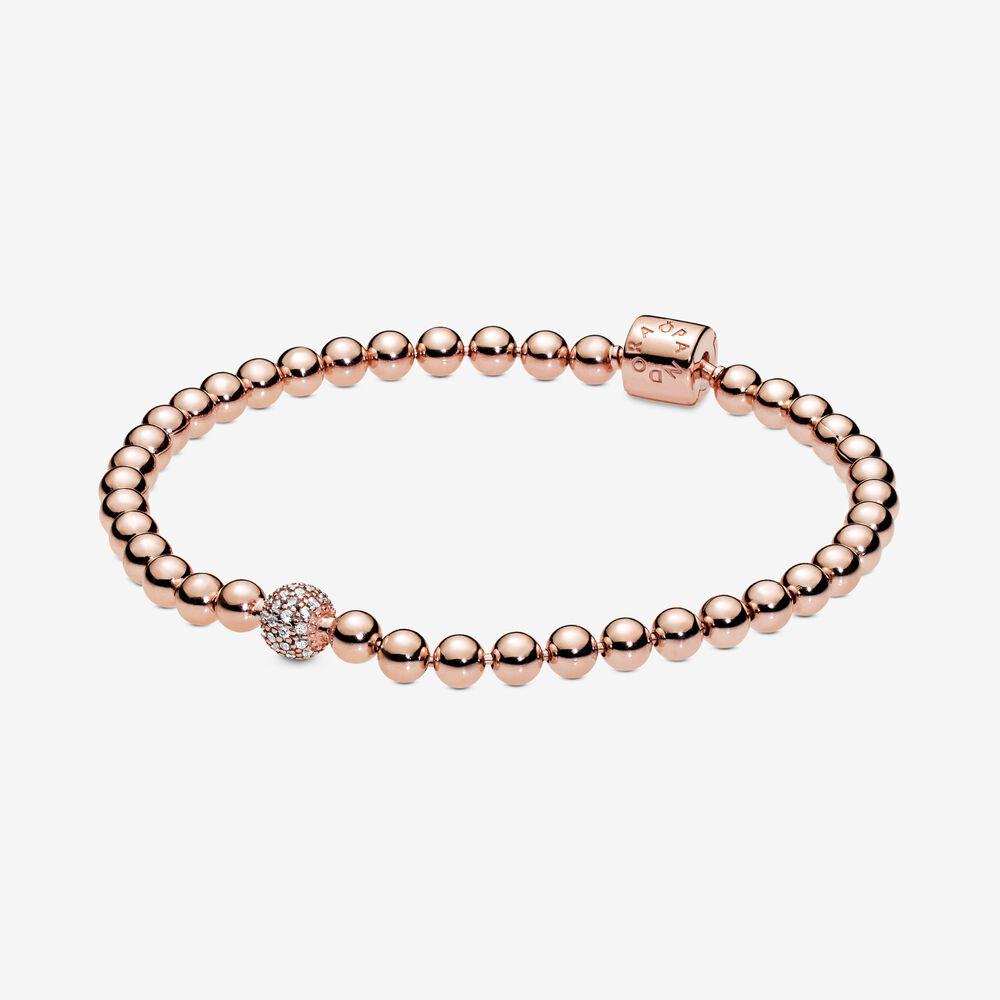 Beads Pavé Bracelet Rose Gold