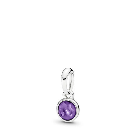 February Droplet Pendant, Synthetic Amethyst, Sterling silver, Purple, Synthetic Amethyst - PANDORA - #390396SAM