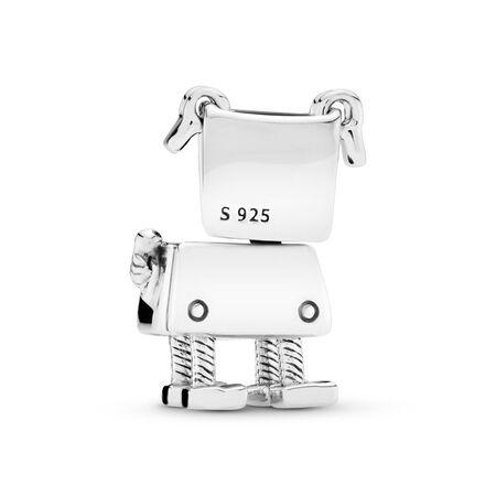 Bobby Bot Charm, White Enamel, Sterling silver, Enamel, White - PANDORA - #797551EN12