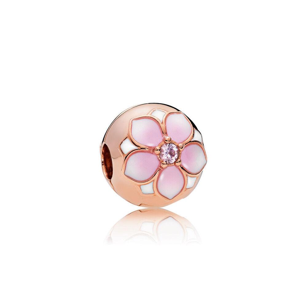 Magnolia Bloom Clip PANDORA Rose Blush Pink Crystal Mix