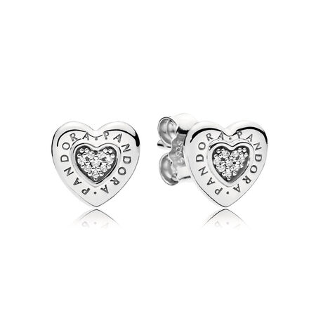 PANDORA Signature Heart Stud Earrings, Clear CZ, Sterling silver, Cubic Zirconia - PANDORA - #297382CZ