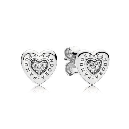 PANDORA Signature Heart Stud Earrings, Clear CZ