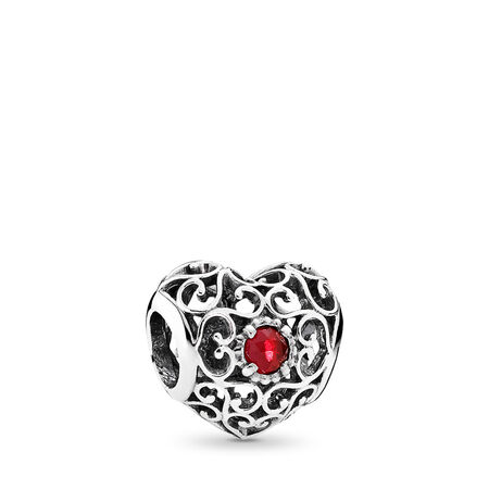 July Signature Heart Charm, Synthetic Ruby