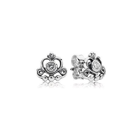 My Princess Tiara Stud Earrings, Clear CZ, Sterling silver, Cubic Zirconia - PANDORA - #290540CZ