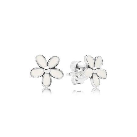 Darling Daisies Stud Earrings, White Enamel