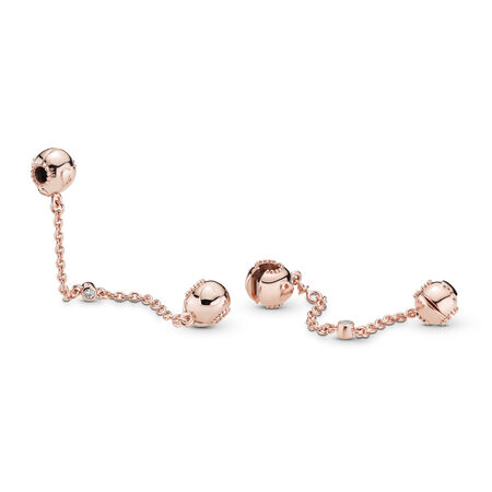 Embossed Hearts Safety Chain, PANDORA Rose™ & Clear CZ