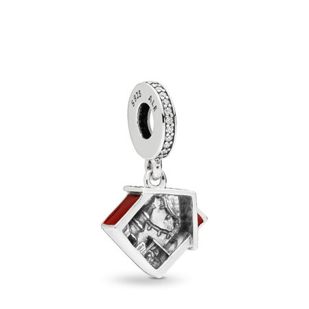 Cosy Christmas House Dangle Charm, Clear CZ & Red Enamel