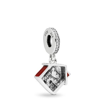 Cosy Christmas House Dangle Charm, Clear CZ & Red Enamel, Sterling silver, Enamel, Red, Cubic Zirconia - PANDORA - #797517EN27