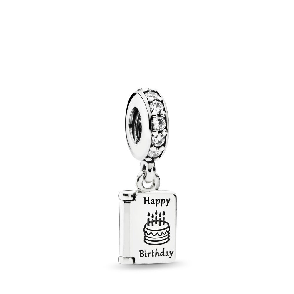 Birthday Wishes Dangle Charm Clear CZ Sterling Silver Cubic Zirconia