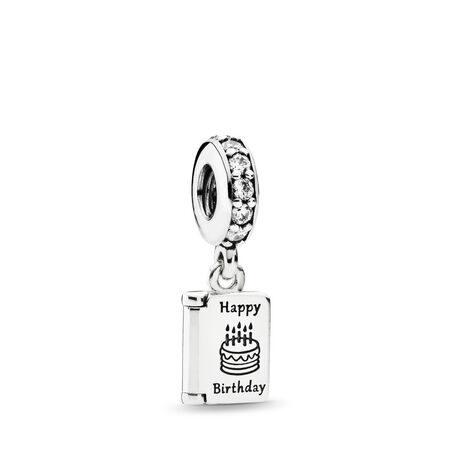 Birthday Wishes Dangle Charm, Clear CZ