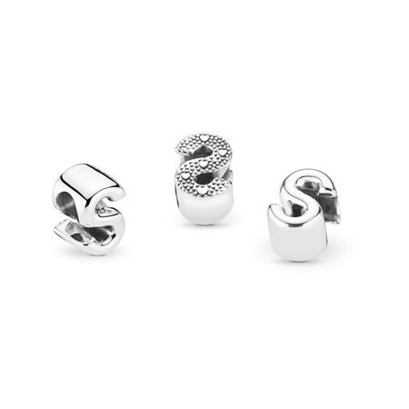 Letter S Charm, Sterling silver - PANDORA - #797473