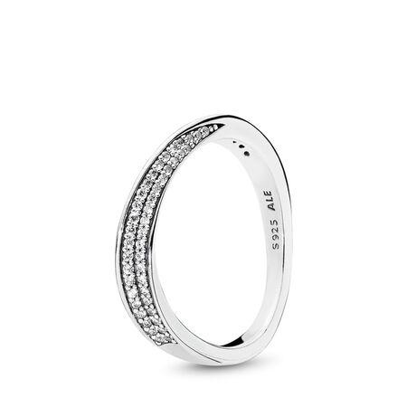 Elegant Waves Ring, Clear CZ