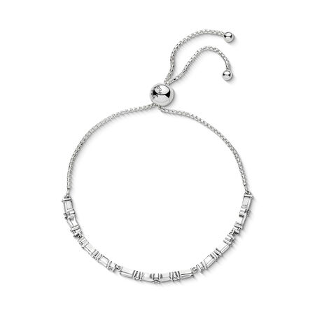 Glacial Beauty Sliding Bracelet, Clear CZ